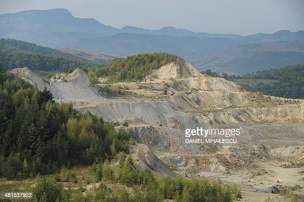 General view of communist era gold exploratation of Carnic in Rosia Montana village on September 20 2011 Picturesque town of Transylvania Rosia...
