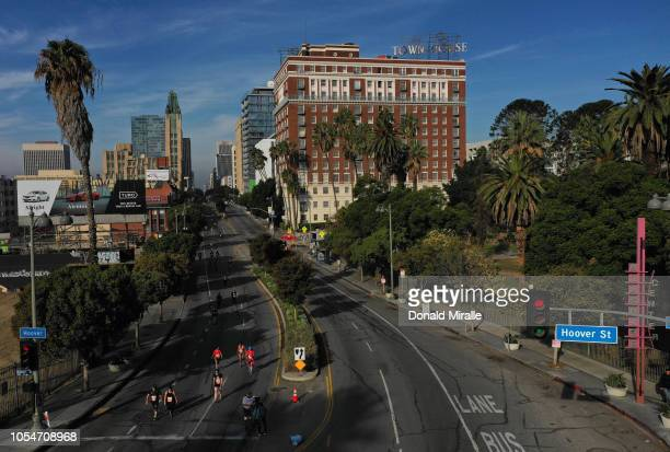A general view of competitors running during the United Airlines Rock 'n' Roll Los Angeles Marathon on October 28 2018 in Los Angeles California