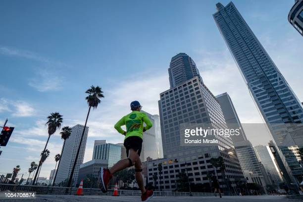 A general view of competitors running in the downtown area during the United Airlines Rock 'n' Roll Los Angeles Marathon on October 28 2018 in Los...