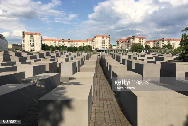 A general view of concrete slabs or 'stelae' in The Memorial to the Murdered Jews of Europe also known as the Holocaust Memorial designed by...