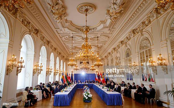 A general view of conference room during the meeting on the 5th Anniversary of the Eastern Partnership at Prague Castle on April 24 2014 in Prague...