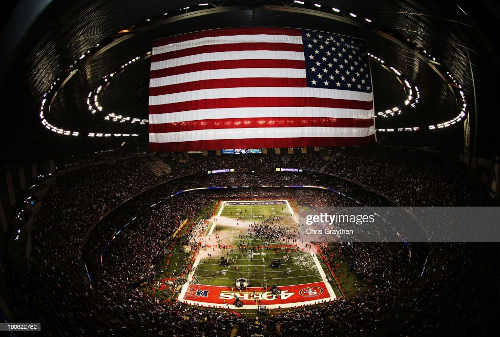 A general view of confetti as it falls on the field in celebration of the Baltimore Ravens 34-31 win against the San Francisco 49ers during Super Bowl XLVII at the Mercedes-Benz Superdome on February 3, 2013 in New Orleans, Louisiana.