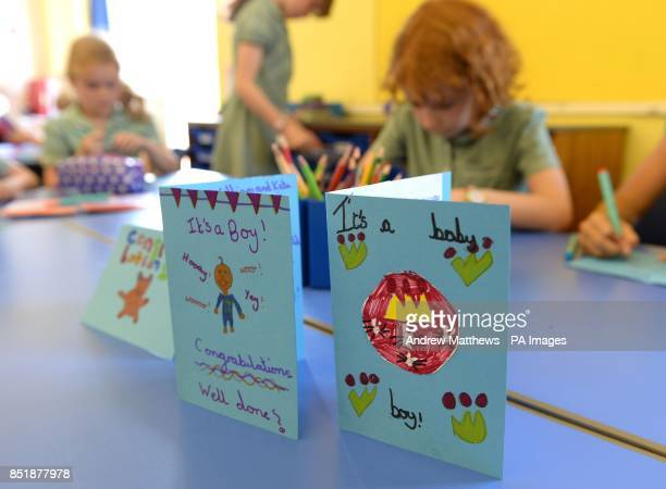 General view of congratulations cards for the Duke and Duchess of Cambridge on the birth of their son made by pupils of Bucklebury Church of England...