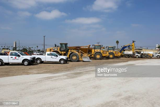 General view of constriction vehicles during the Los Angeles Clippers Ground breaking Ceremony on September 17 at the Intuit Dome site in Inglewood,...
