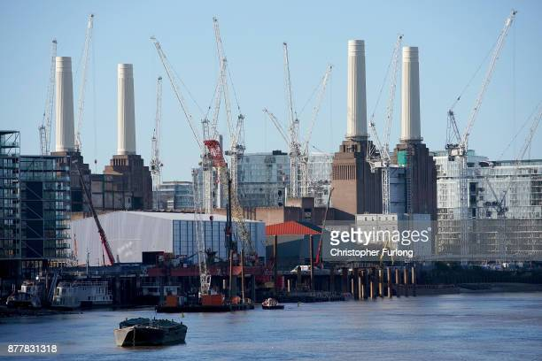 A general view of construction cranes over the Battersea Power Station development on November 23 2017 in London England Yesterday Chancellor of the...