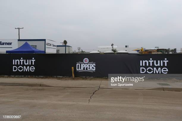 General view of construction fencing during the Los Angeles Clippers Ground breaking Ceremony on September 17 at the Intuit Dome site in Inglewood,...