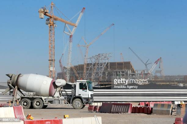 General view of construction site of new Al Bayt Stadium in Al Khor Qatar on June 20 2017 The stadium will be a venue for the FIFA World Cup 2022...