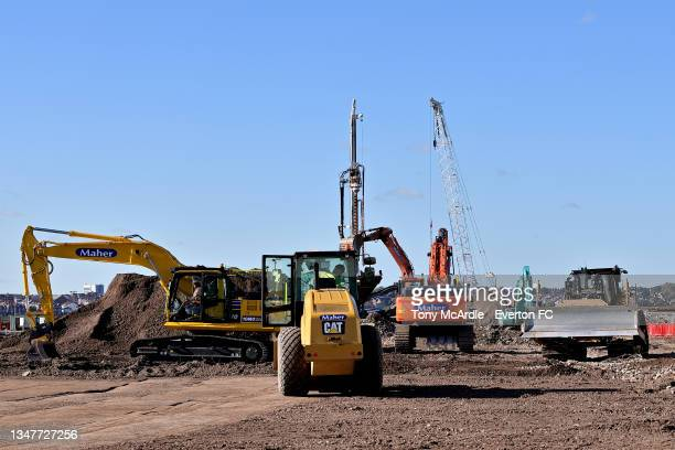 October 15: A general view of construction vehicles at Bramley-Moore Dock during the construction of a new stadium for Everton FC on October 15 2021...