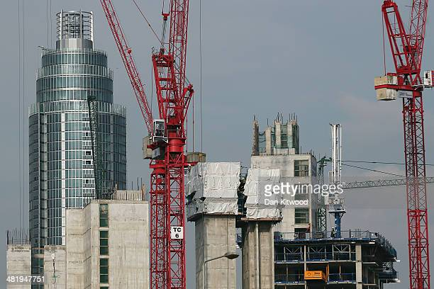 A general view of construction work in the Nine Elms area on April 1 2014 in London England Several high profile campaigners including Sir Anthony...