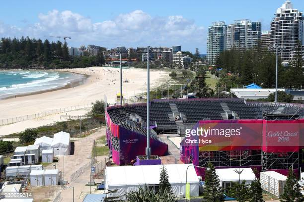 A general view of Coolangatta Beachfront Beach Volleyball venue for the 2018 Gold Coast Commonwealth Games on March 16 2018 in Gold Coast Australia