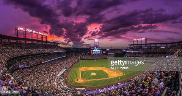 A general view of Coors Field during the game between the Pittsburgh Pirates and the Colorado Rockies on July 22 2017 in Denver Colorado