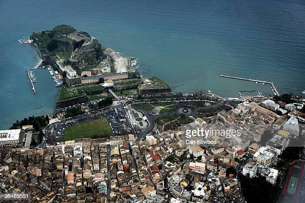 A general view of Corfu Town on February 6 2010 in Corfu Greece The Fortress which can be seen at the top of the picture sits on a rocky outcrop and...