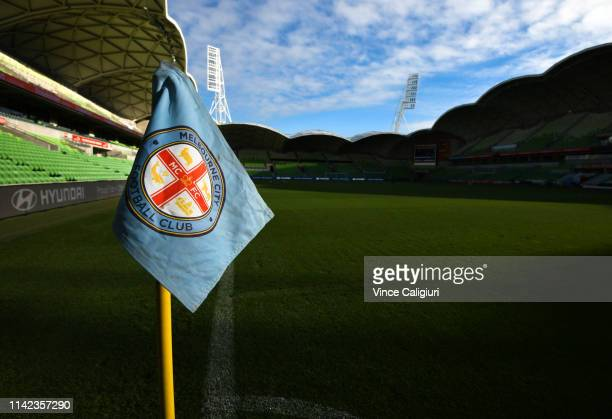 General view of corner flag pole before the round 25 ALeague match between Melbourne City and Adelaide United at AAMI Park on April 13 2019 in...