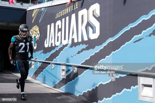 A general view of Cornerback AJ Bouye of the Jacksonville Jaguars as he enters the field before the game against the Houston Texans at EverBank Field...