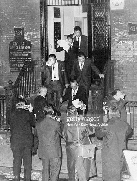General view of Cosa Nostra members Anthony Carillo Santo Trafficanti Joseph Marcello and Frank Gagliano coming out of the New York Civil Jail as...