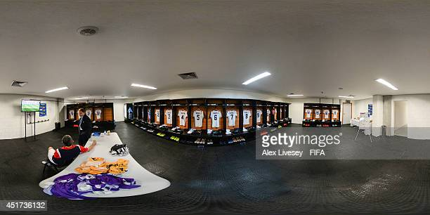 A general view of Costa Rica dressing room before the 2014 FIFA World Cup Brazil quarterfinal match between Netherlands v Costa Rica at Arena Fonte...