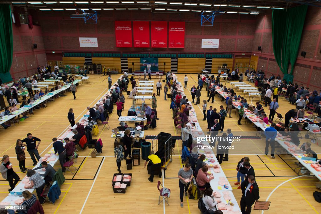 A general view of counting underway at the Sport Wales National Centre on June 9, 2017 in Cardiff, United Kingdom. After a snap election was called, the United Kingdom went to the polls yesterday following a closely fought election. The results from across the country are being counted and an overall result is expected in the early hours.