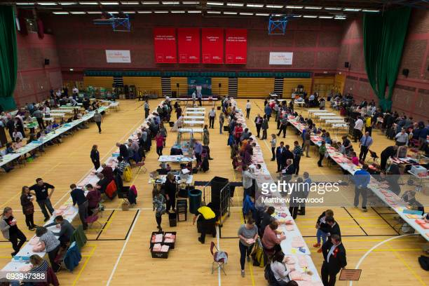 A general view of counting underway at the Sport Wales National Centre on June 9 2017 in Cardiff United Kingdom After a snap election was called the...