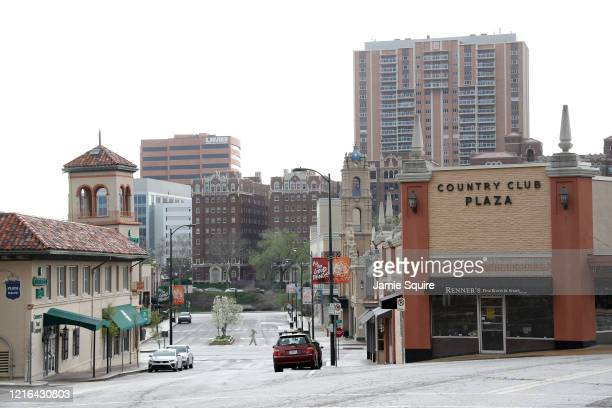 General view of Country Club Plaza as the Coronavirus Pandemic causes a climate of anxiety and changing routines in America on April 02, 2020 in...