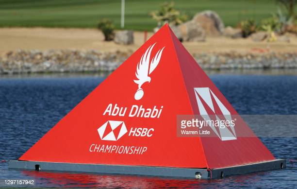 General view of course branding during practice ahead of the Abu Dhabi HSBC Championship at Abu Dhabi Golf Club on January 19, 2021 in Abu Dhabi,...