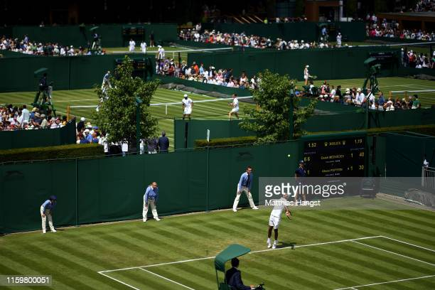 General view of court 12 as Alexei Popyrin of Australia serves in his Men's Singles second round match against Daniil Medvedev of Russia during Day...