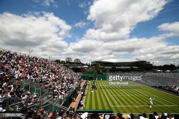 General view of court 12 during the Men's Singles first round match against between Kei Nishikori of Japan and Thiago Monteiro of Brazil during Day...