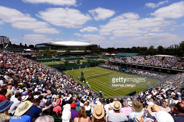 General view of court 12 in the Men's Singles second round match between Daniil Medvedev of Russia and Alexei Popyrin of Australia during Day three...