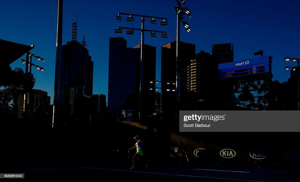 A general view of court 13 as Yulia Putintseva of Kazakhstan plays a shot in her first round match against Heather Watson of Great Britain on day two of the 2018 Australian Open at Melbourne Park on January 16, 2018 in Melbourne, Australia.