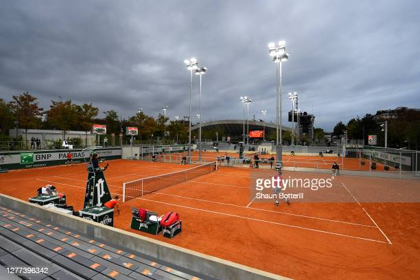 General view of court 13 during the Men's Singles first round match between Yasutaka Uchiyama of Japan and Attila Balazs of Hungary on day three of...