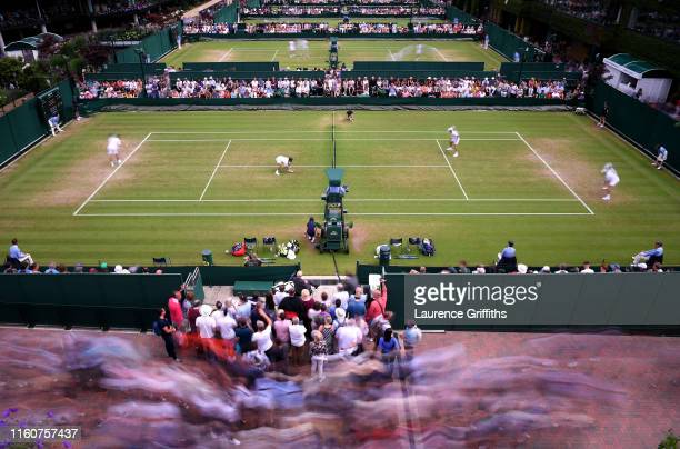 General view of court 14 in the Men's Doubles third round match between JeanJulien Rojer of The Netherlands partner of Horia Tecau of Romania and...
