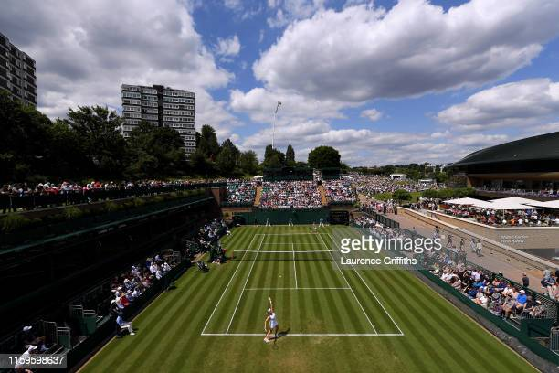 A general view of court 18 as Anastasia Pavlyuchenkova of Russia and Belinda Bencic of Switzerland play their Ladies' Singles first round match...