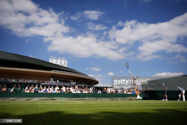 A general view of court 18 as Dayana Yastremska of Ukraine serves in her Ladies' Singles second round match against Sofia Kenin of The United States...