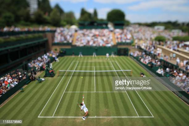 General view of Court 18 as Jeremy Chardy serves to David Goffin during their Gentlemen's Singles 2nd Round match during Day 3 of The Championships -...
