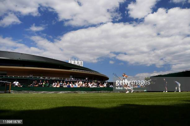 A general view of court 18 as Sofia Kenin of The United States serves in her Ladies' Singles second round match against Dayana Yastremska of Ukraine...