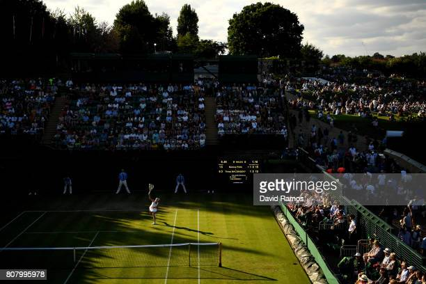 A general view of court 18 during the Ladies Singles first round match between Monica Puig of Puerto Rico and Timea Bacsinszky of Switzerland on day...
