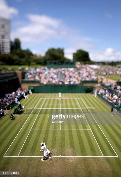 A general view of court 18 during the second round match between YenHsun Lu of Taiwan and Viktor Troicki of Serbia on Day Four of the Wimbledon Lawn...