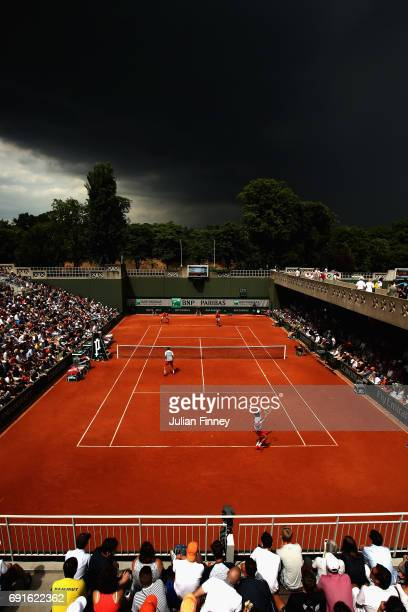 A general view of Court 2 during the mens doubles second round match between Sam Groth of Australia and Robert Lindstedt of Sweden and Bob Bryan and...