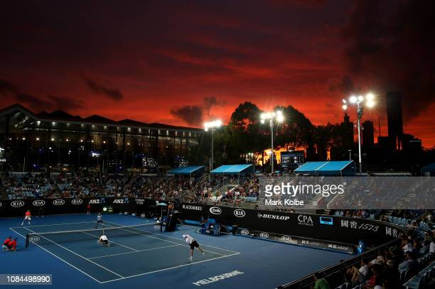 General view of Court 3 at sunset during the second round doubles match between Artem Sitak of New Zealand and Austin Krajicek of the United States...