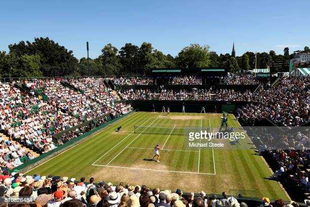 A general view of court 3 during the Ladies Singles third round match between Angelique Kerber of Germany and Shelby Rogers of The United States on...