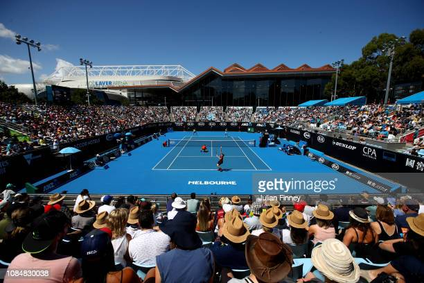 General view of Court 3 during the Men's Doubles second round match between Jamie Murray of Great Britain and Bruno Soares of Brazil and Luke...