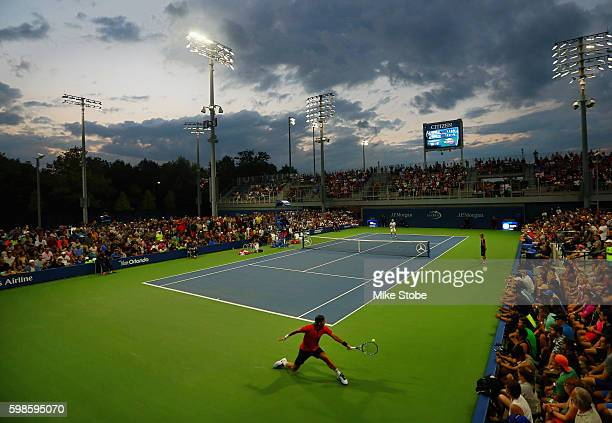 A general view of Court 5 is seen as Feliciano Lopez of Spain reaches to return a shot to Joao Sousa of Portugal during their second round Men's...