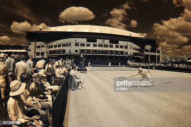 A general view of Court 6 as Stefan Kozlov of the United States plays a Boys' Singles Second Round match against Pedro Martinez Portero of Spain on...