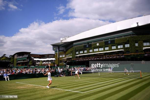A general view of court 7 during the Ladies' Doubles first round match between Timea Babos of Hungary Kristina Mladenovic of France Jessica Pegula of...