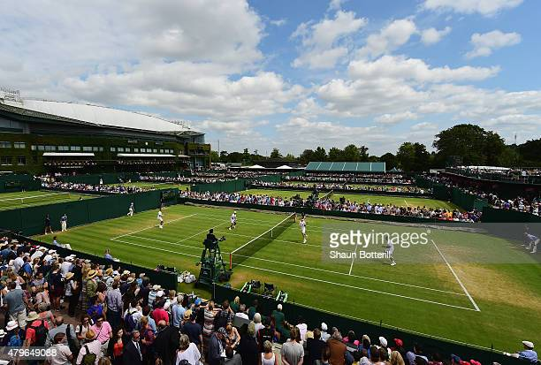A general view of Court 8 during the Gentlemen's Third Round match between Rohan Bopanna of India and Florin Mergea of Romania agianst Lukasz Kubot...