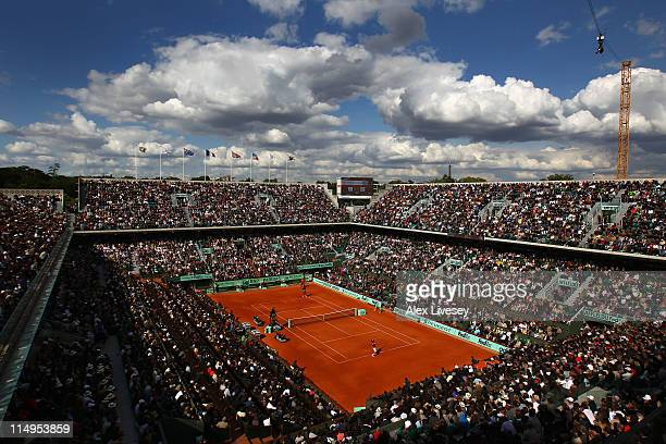 A general view of Court Chatrier during the men's singles quarterfinal match between Gael Monfils of France and Roger Federer of Switzerland on day...
