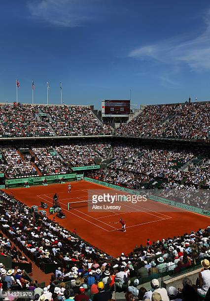 General view of Court Chatrier during the men's singles round four match between Stanislas Wawrinka of Switzerland and Roger Federer of Switzerland...