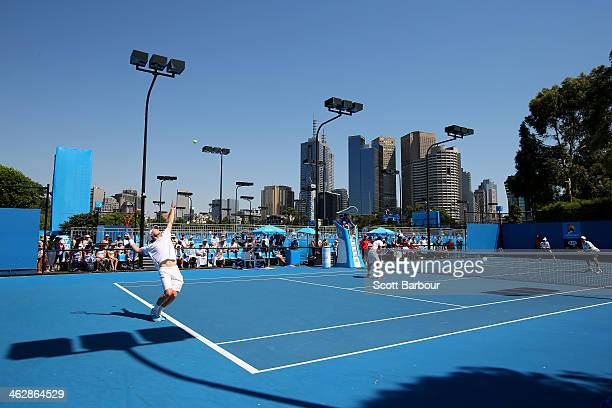 A general view of court five in the doubles match between Matt Reid and Luke Saville of Australia against Jamie Murray of Great Britain and John...