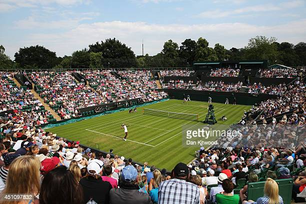 General view of court number 2 as Venus Williams of the United States plays against Maria-Teresa Torro-Flor of Spain on day one of the Wimbledon Lawn...