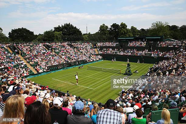 General view of court number 2 as Venus Williams of the United States plays against MariaTeresa TorroFlor of Spain on day one of the Wimbledon Lawn...