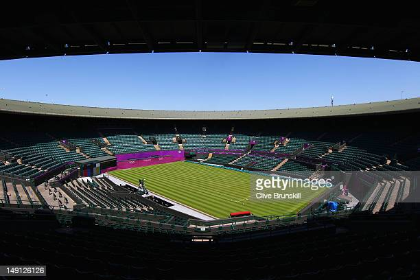 A general view of Court number one during previews ahead of the 2012 London Olympic Games at the All England Lawn Tennis and Croquet Club in...
